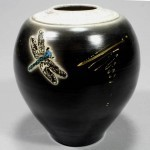 dark vase with dragonfly and gold lustres